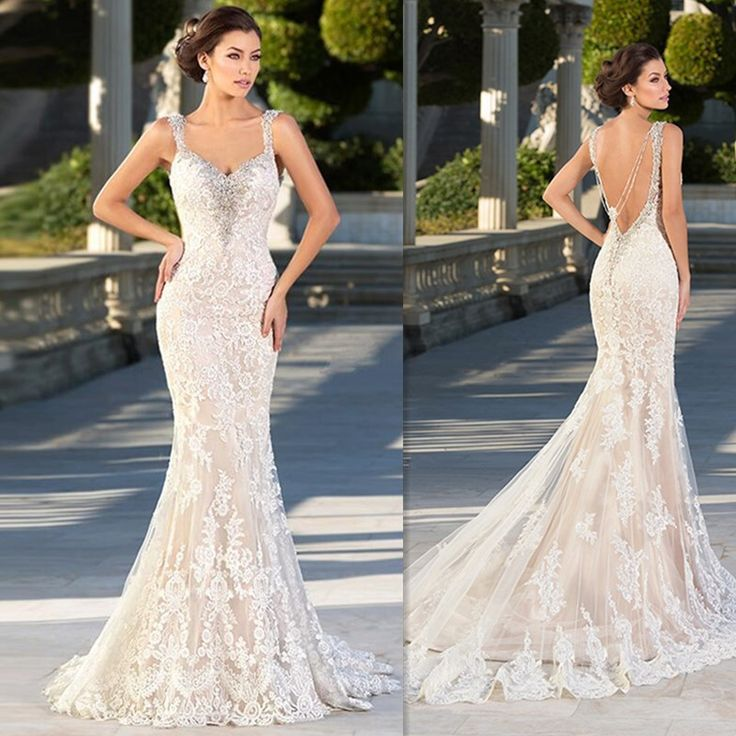 Champagne Zuhair Murad Wedding Dresses Mermaid 2017 Backless Lace Robe De Mariage Custom Made Bridal Gowns Shop Online China * AliExpress Affiliate's buyable pin. Click the image for detailed description on www.aliexpress.com