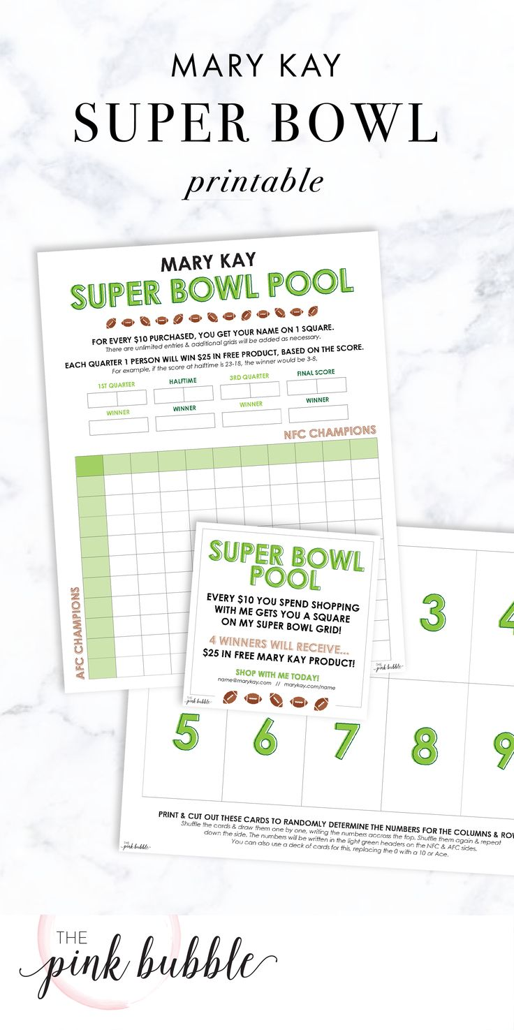 Mary Kay Super Bowl Pool Printables. Find them only at www.thepinkbubble.co!