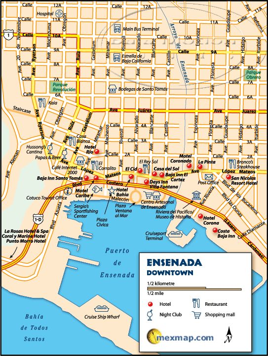 Downtown Ensenada Baja Map