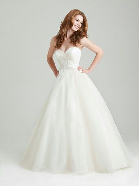 Pretty, Strapless Organza A-Line Wedding Gown Showcasing A Sweetheart Neckline & Lace Appliqued Bodice; by Allure Bridals Romance>>>>