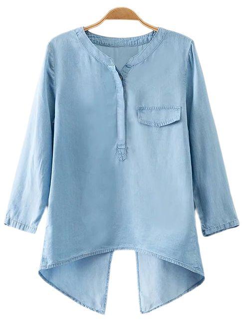 Blue Fake Pocket Cross Back Denim Blouse