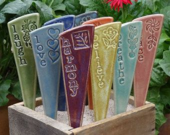 3 Garden Markers For Your Yard U0026 Planters   3 Inspirational Ceramic Garden  Markers