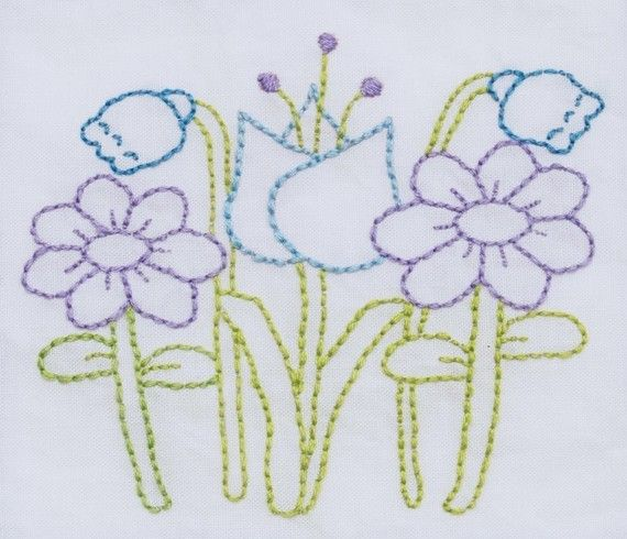 flowers embroidery pattern packet by KimberlyOuimet on Etsy, $4.00