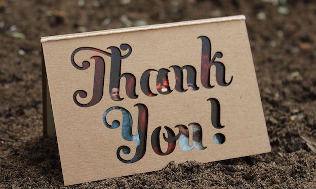 Classic Wedding Invitations - laser cut thank you card