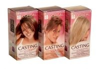 £2.49 - Loreal Casting Colourant Casting is a non-permanent hair colourant which gives your hair natural-looking colour and shine in just 15 minutes, even covering first greys. With no ammonia, Casting enhances and brightens your natural hair colour without lightening it. Beautiful colour lasts up to 6 weeks with no visible roots, leaving you free to experiment with colour.