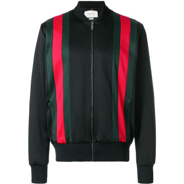 Gucci hooded bomber jacket ($1,890) ❤ liked on Polyvore featuring men's fashion, men's clothing, men's outerwear, men's jackets, black, mens hooded jackets, gucci mens jacket, mens hooded bomber jacket and mens fitted jacket