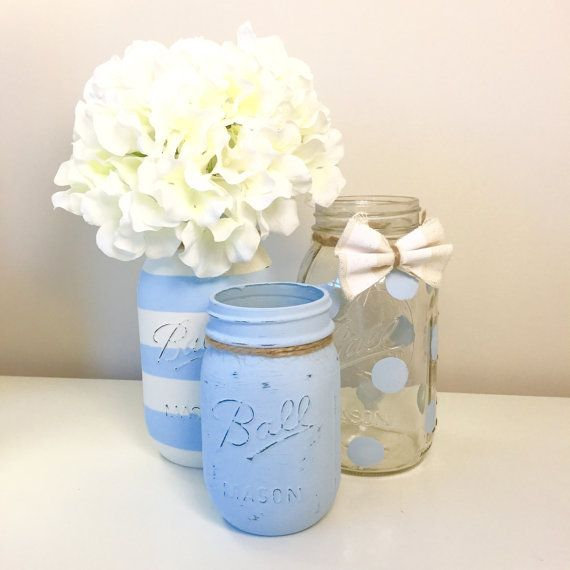 Baby Shower Mason Jar Decor. Baby Boy by LowCountryHomeDecor More