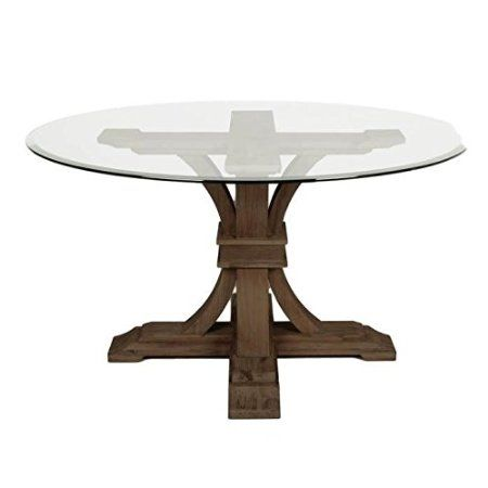 "Devon Traditions 54"" Round Glass Top Dining Table with Beveled Edge and Acacia Veneer Pedestal Base"