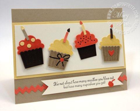 Stampin up birthday card masculine cupcake punch big shot die cutting machine tasteful trim