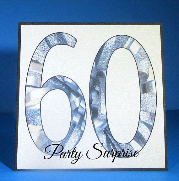60th Cake Topper Custom Card Birthday Anniversary Centerpiece