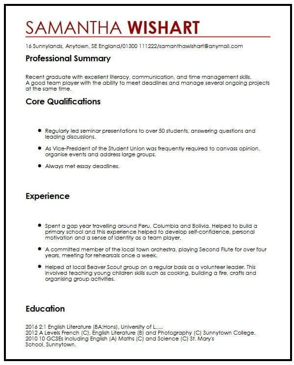 Great Student Cv Template No Experience Picture Sample Job Resume Example Work Essay