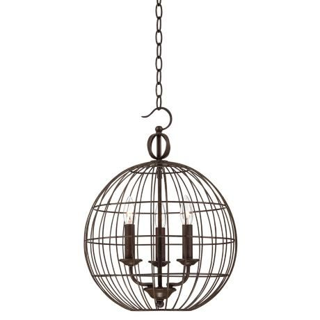 """Industrial Candelabra 3-Light 15"""" Wide Cage Pendant Light  - 1 each guest rooms B & C"""