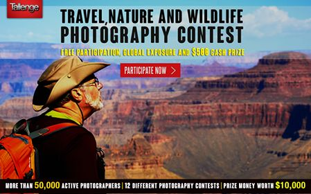 #ContestAlert The #Travel, #Nature and #Wildlife #Photography #Contest on #Tallenge has already got more than 400 entries from participants from over 50 countries. If you think you can compete against these adventurous photographers and win Fame, Recognition and $500 #CashPrize, then click some amazing photos and upload them in this enthralling contest on Tallenge. Click here, http://www.tallenge.com/Contest/tallenge-travel-nature-and-wildlife-photography-contest-24  to participate.