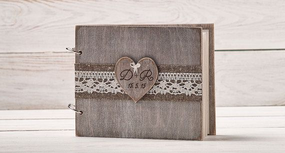 Rustic Wedding Guest Book Custom Wood by InesesWeddingGallery