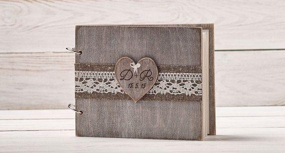 Rustic Wedding Guest Book Custom Wood by InesesWeddingGallery