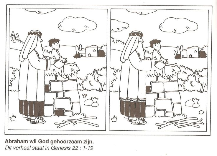 Abraham wil God gehoorzaam zijn, offer Isaak zoek de 10 verschillen