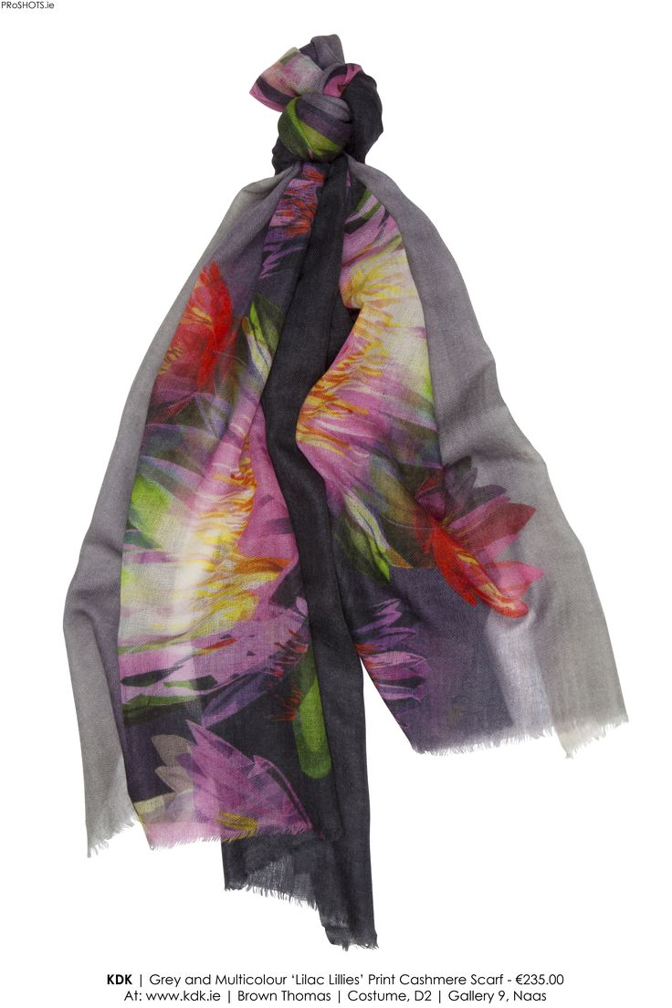 images by www.PRoSHOTS.ie   KDK Scarves   Lovely light and dark greys with flowers in purple and hot & light pinks … a brilliant feminine scarf for your collection.  65cm x 190cm  100% Cashmere