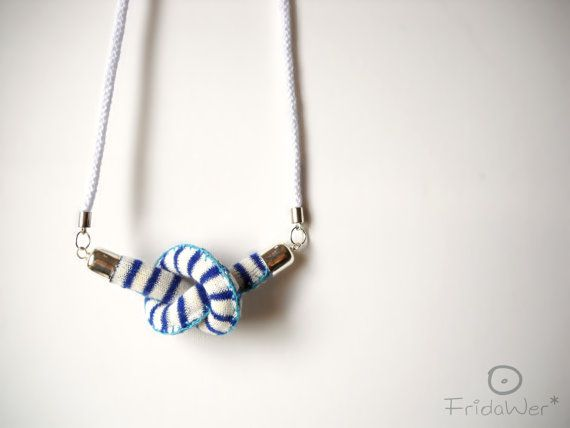 Knot-Long Necklace sautoir in cotton with Blue by FridaWer on Etsy
