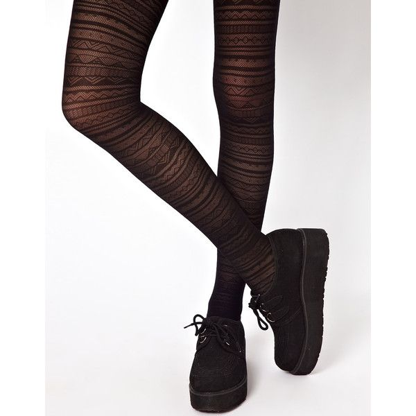 ASOS Aztec Pattern Tights ($6.92) ❤ liked on Polyvore featuring intimates, hosiery, tights, socks, accessories, bottoms, high waisted tights, asos tights, asos and aztec tights