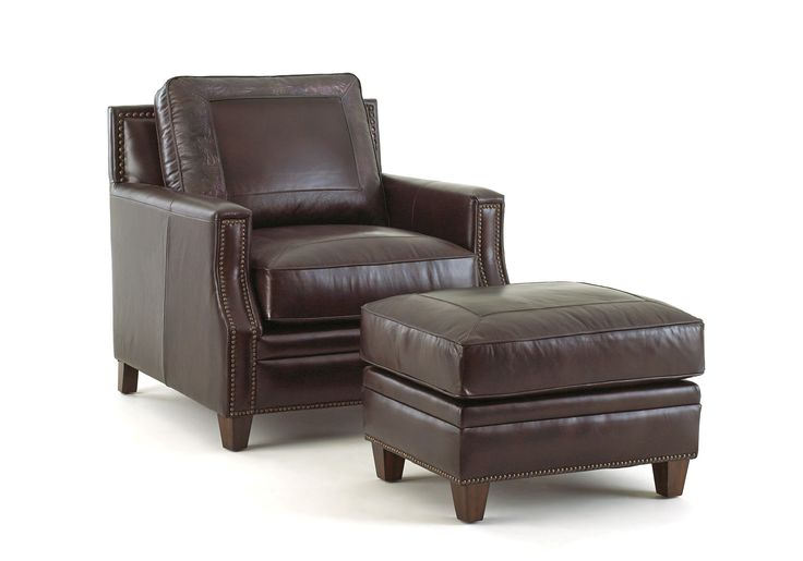 Gravely arm chair and ottoman leather chair with ottoman