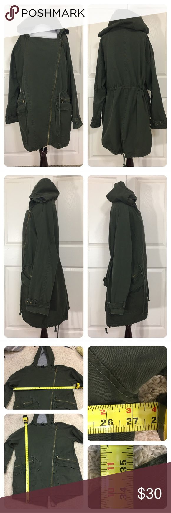 ASOS Curve army green Anorak Great army green Anorak from ASOS Curve. Off center zipper. Tie at waist. Light wear. Great layering options. ASOS Curve Jackets & Coats