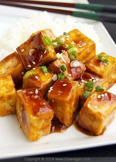 Vegan Teriyaki Tofu 1 14-ounce block of extra-firm tofu 1 teaspoon olive oil 1/2 teaspoon sea salt 1/4 teaspoon paprika 1 green onion, chopped for garnish Sesame seeds for garnish