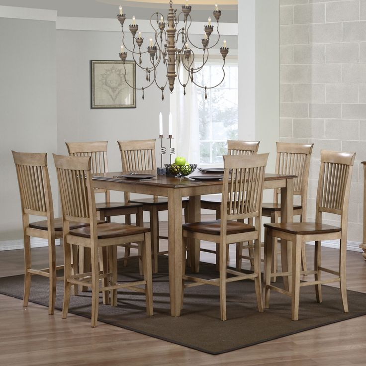 Sunset Trading Brookdale 9 Piece Square Counter Height Table Set with Brookdale Fancy Stools - SET578