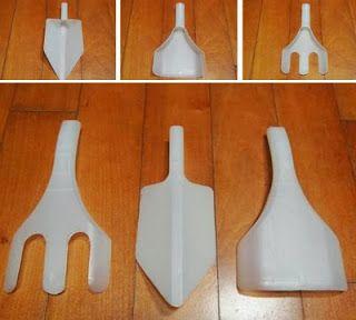 Herramientas de jardinería hechas con bidones plásticos