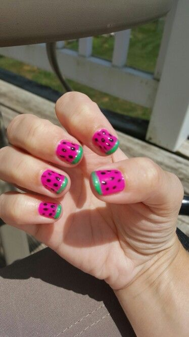 Watermelon nails!!  I am getting braver with the gel polish.