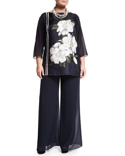 -6B2X Marina Rinaldi  3/4-Sleeve Febo Floral-Print Tunic, Women's Robin Full-Leg Georgette Pants, Women's