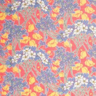 Liberty of London Hazel Red/Blue/Yellow/Purple Silk-Cotton Voile