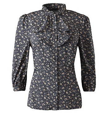 JIGSAW, Heart print 3/4 sleeve blouse, silk