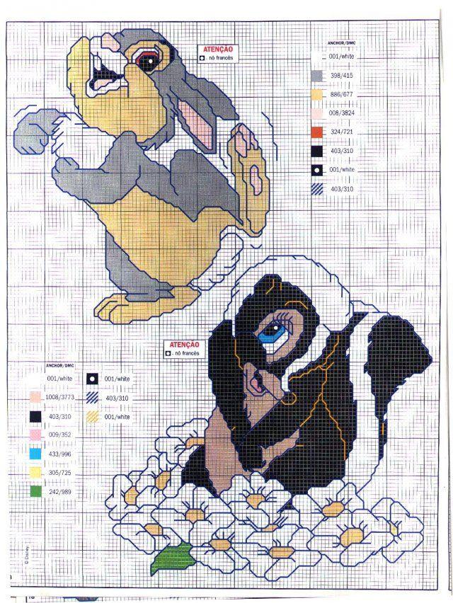Cross-stitch Thumped & Flower the Skunk...   Схема вышивки крестом «Кролик и Скунс» | Вышивка крестиком