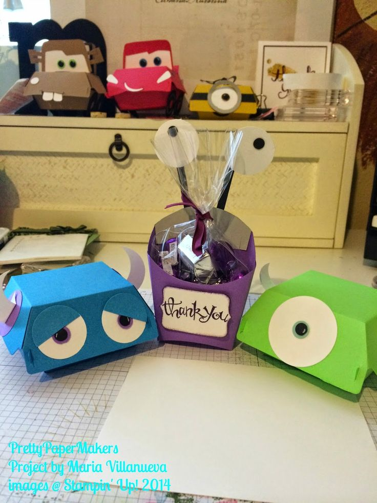 PrettyPaperMakers: Fun with Dies! Monsters Inc. party favors using Hamburger Box and Fry Box dies.