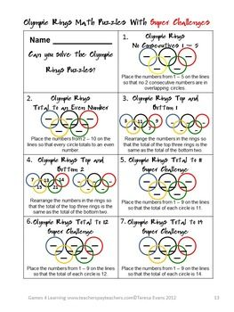Olympic Games Math Brain Teasers                                                                                                                                                     More