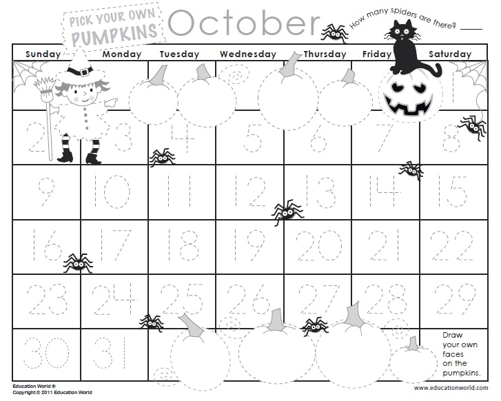 Printable October Calendar Kindergarten : Best images about printable s on pinterest free