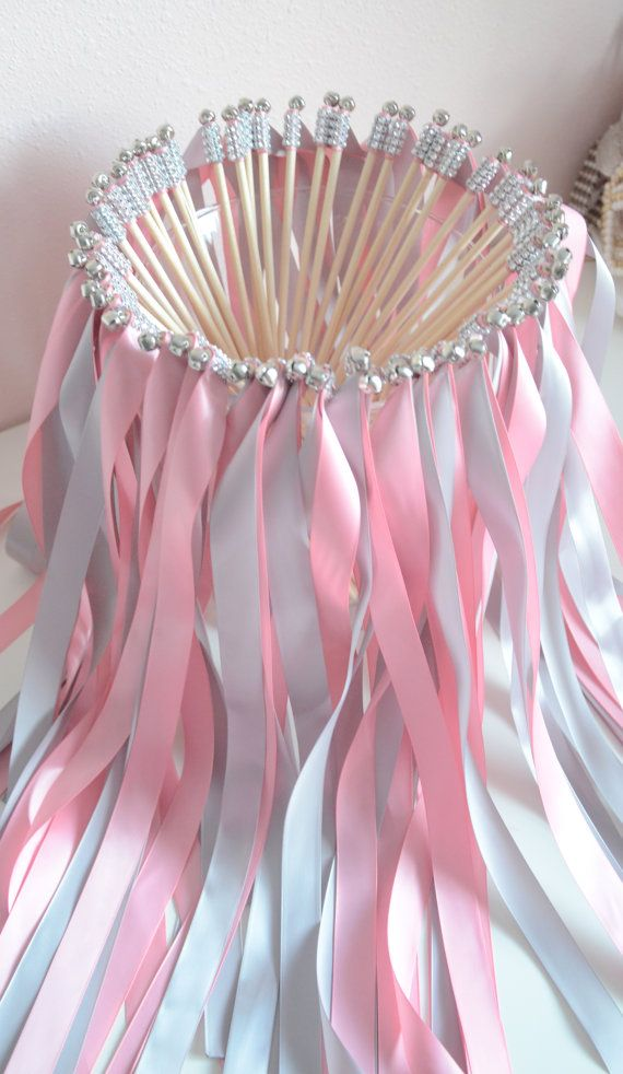 Chic Wedding Ribbon Wands-send off/party steamers set of 100 double ribbon wands with rhinestones and bells on Etsy, $149.68 AUD