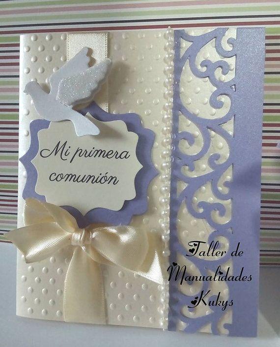 invitaciones de primera comunión por manualidadeskukys en Etsy