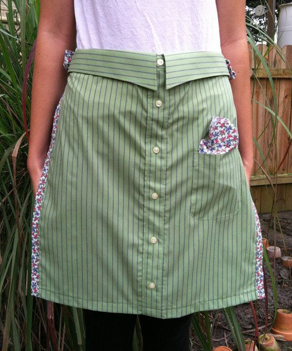 Apron made from repurposed man's shirt by SewMuchLiving on Etsy, $18.00