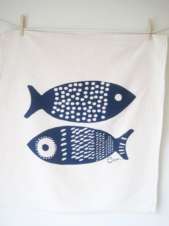 Tea Towel Fish in Navy Blue by erinflett, Etsy