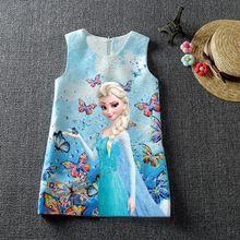 HOT 2016 Summer Baby Girl Dress For Girls Princess Vestidos Fever 2 Anna Elsa Dress Butterfly Print Party Dress Kids Costume(China (Mainland))