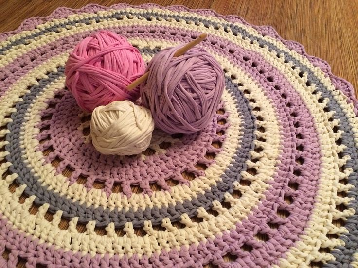 Crochet round rug with openwork Babyrooms by EmbroideryByOlga