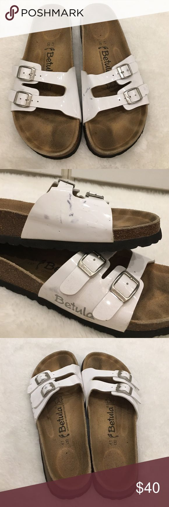 Betula by Birkenstock White Strappy Sandals 10 Preowned authentic Betula White Strappy Sandals size 10. They have signs of wear like black marker stains. I haven't tried to remove the stains. Please look at pictures for better reference. Happy shopping! Birkenstock Shoes Sandals