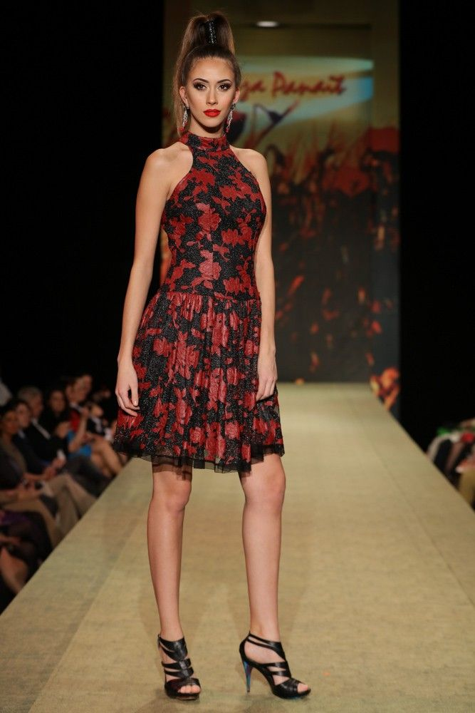 Tulle dress with leather applications