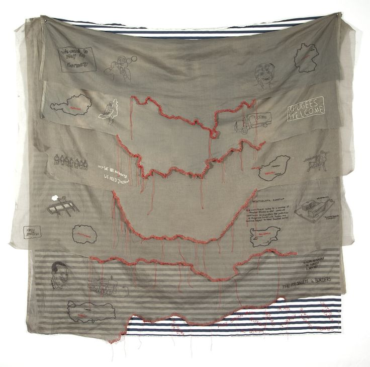 """'By Land', 2017. Embroidery on cotton organdy and awning cloth by Kathryn Clark. 60"""" x 58"""". Refugee stories is a series of embroidery panels about the journey of Syrian refugees."""