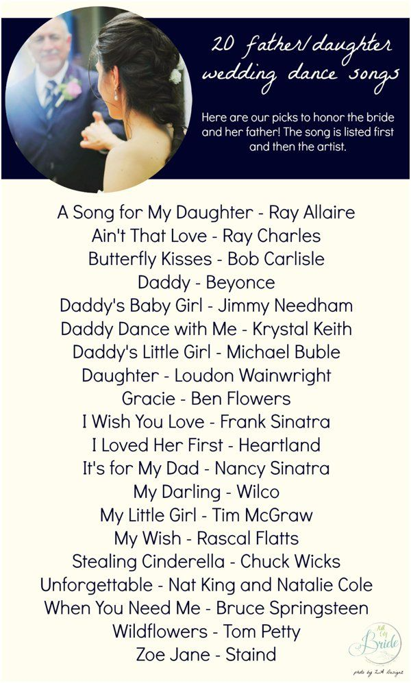 Here's a fun listing of 20 father/daughter dance song ideas!  20 Father Daughter Dance Song Ideas