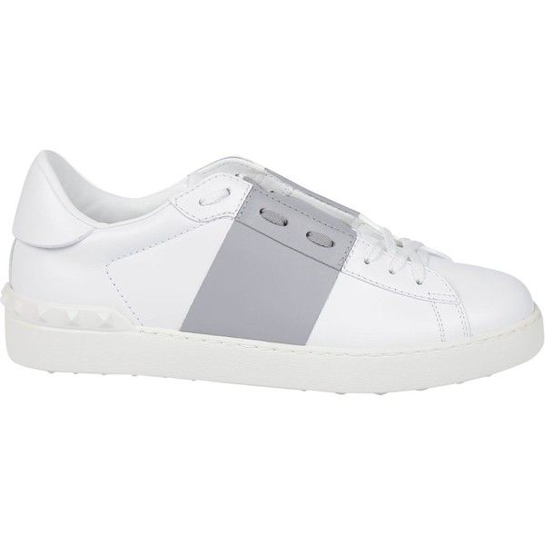 Valentino: White Pastel Grey Open Sneakers ($410) ❤ liked on Polyvore featuring shoes, sneakers, valentino sneakers, valentino trainers, white sneakers, pastel shoes and gray shoes
