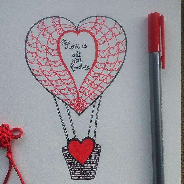 Hand drawn illustration of heart shaped hot air balloon with hand-lettering. 'Love is all you need' is now available as merchandise for purchase on @postergully @cupick @paintcollar  This is hand drawn illustration of heart(hot) air balloon, with hand lettering of 'love is all you need' on it #art #artwork #illustration #drawing #sketch #heartairballoon #hotairballoon #hearts #love #loveisallyouneed #doodle #valentine #valentines2016 #forsale  #postergully #cupick #paintcollar #india #artist