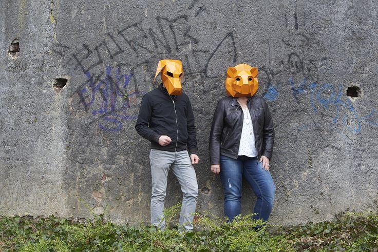masken, orange, shooting, werbeagentur [raster]fabrik gmbh, mauer, hund, löwe