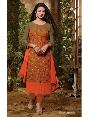 Orange Georgette Charming Long Salwar Kameez